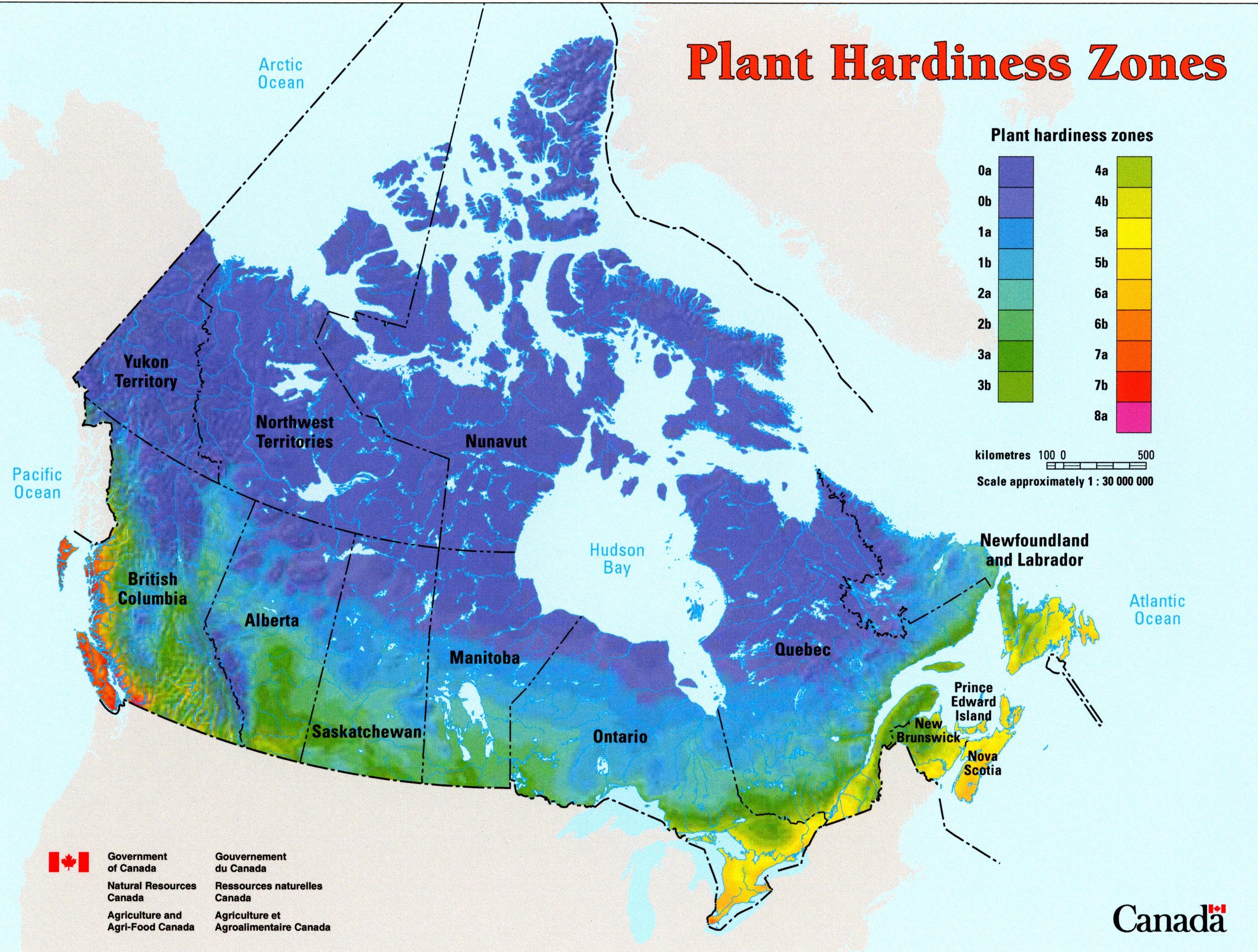 Gardening region zones map