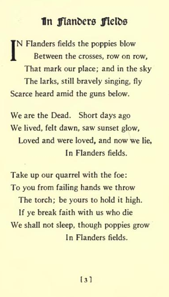 Poem - In Flanders Fields