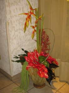 Another foyer arrangement with amaranthus, anthurium, heliconia and ginger