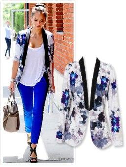 jessica alba in floral blazer