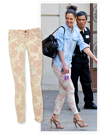 Katie Holmes in floral jeans
