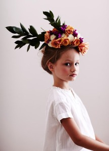 little girl with floral headpiece