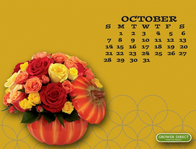 October 2012 calendar  desktop wallpaper