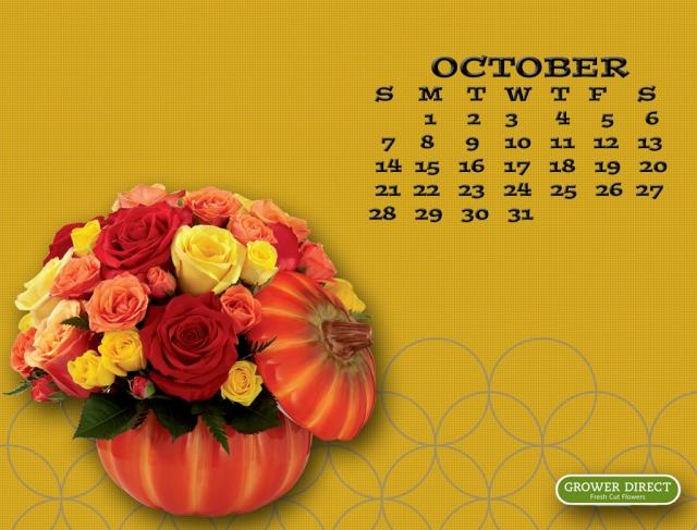 October 2012 calendar  desktop wallpaper
