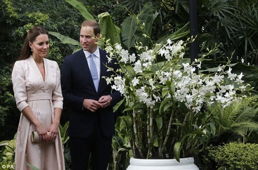 "royal couple view the ""Princess Diana"" orchids at the Singapore Botanic Gardens"