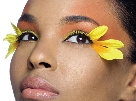 yellow flower eye makeup