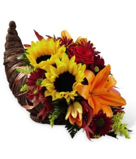 Sweet Autumn Cornucopia flower arrangement from Grower Direct