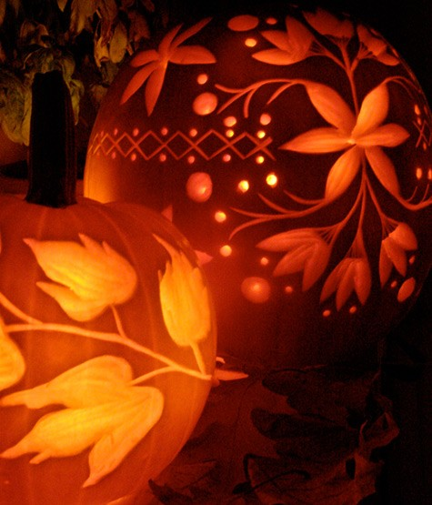 Amazing pumpkin carvings featuring flowers grower