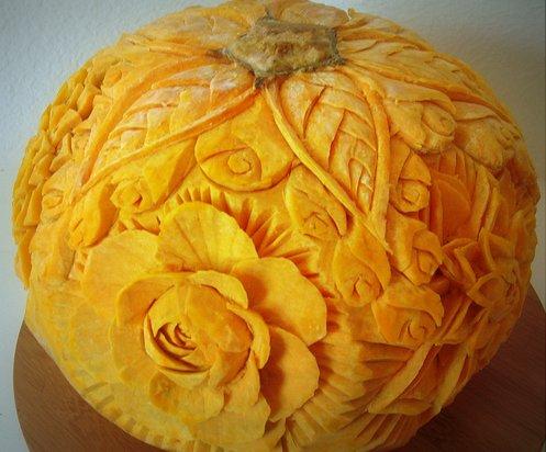 pumpkin carving, flowers