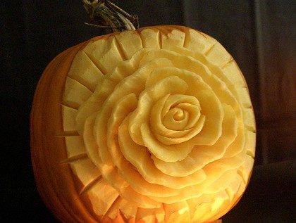 rose pumpkin carving