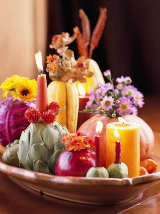 seasonal vegetable centerpiece for thanksgiving