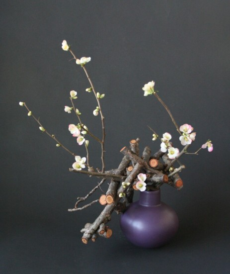 cherry-and-quince-branches floral arrangement