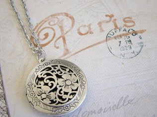 floral locket necklace from Etsy