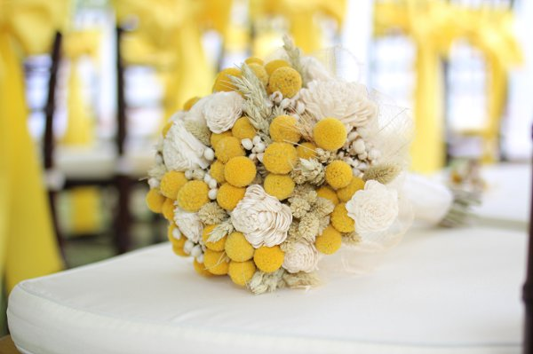 Popular wedding flower trends billy ball flowers grower direct craspedia bouquet with white flowers mightylinksfo