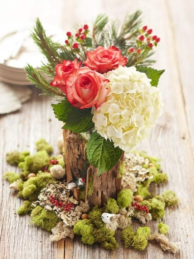 christmas centerpiece with flowers