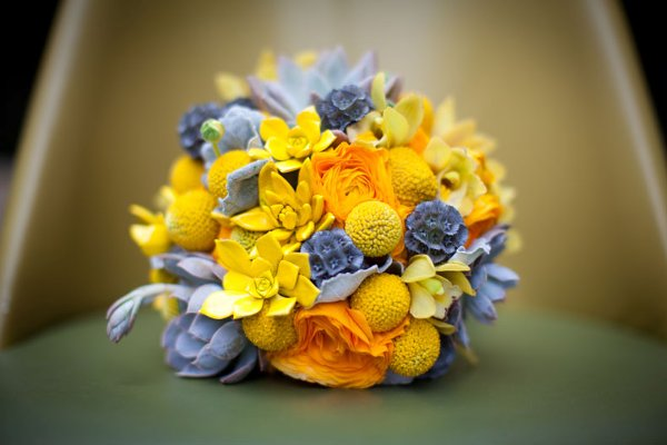 wedding bouquet with billy balls or craspedia