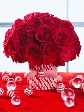 Christmas centerpiece with candy cane vase