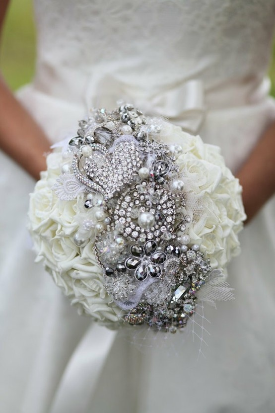 flowers with brooches