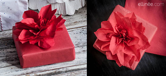 easy poinsettia craft: napkin flower