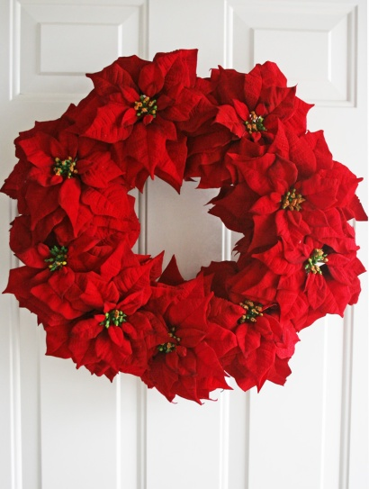 Christmas wreath made from poinsettia