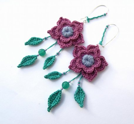 handmade crochet flower earrings from Etsy