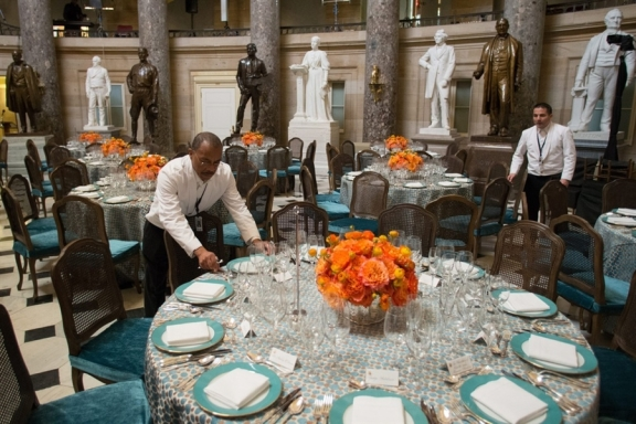 flowers at the President Obama inaugural luncheon