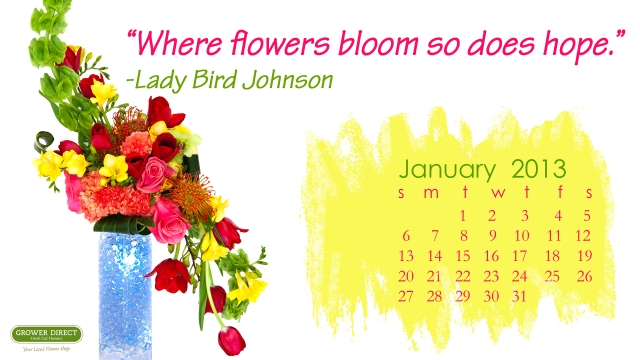 January 2013 desktop calendar wallpaper