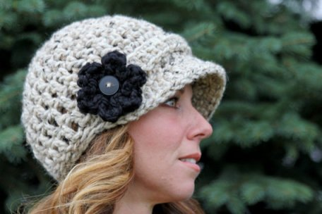 handmade knit hat with flower from Etsy