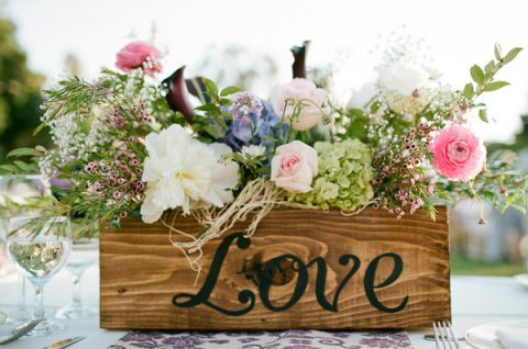 vintage wooden crate with flowers