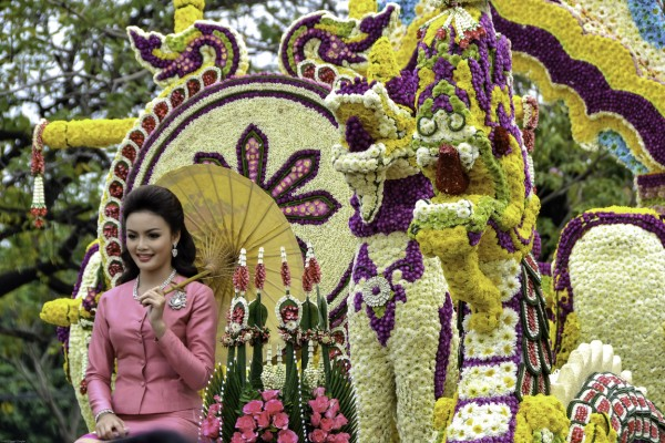 flower float at the Chiang Mai Flower Festival in Thailand