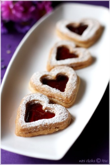 edible flower desserts; lavender linzer cookies