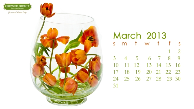 Free March 2013 desktop wallpaper calendar-orange tulips