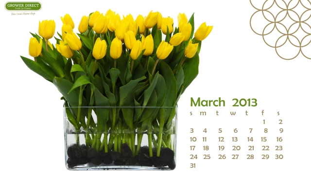 Free flower Desktop wallpaper calendar, March 2013