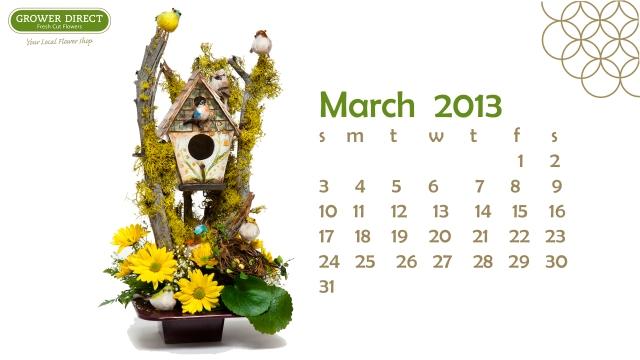 Free March 2013 Desktop wallpaper calendar