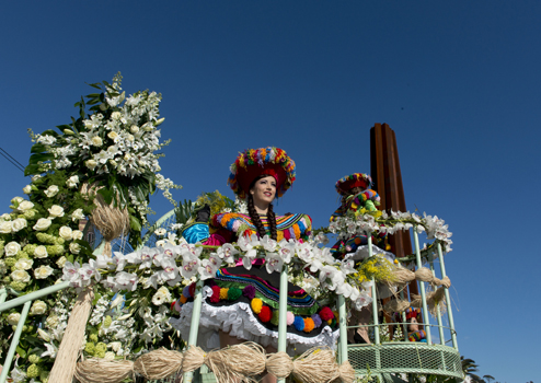 Battle of the Flowers (bataille de fleurs) at the Nice Carnival in France.