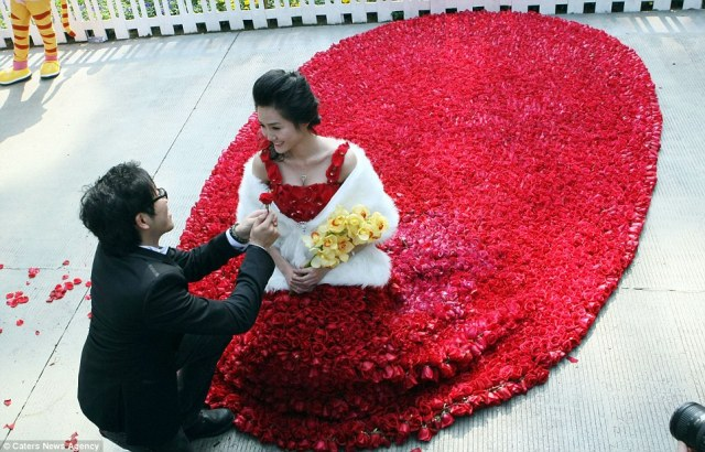 Chinese man proposes to girlfriend with gown made of 9999 red roses
