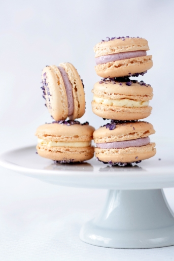 edible flower desserts; violet macarons with violet and vanilla bean buttercream