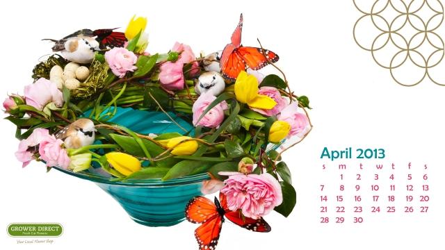 Free April 2013 desktop calendar wallpaper