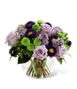 the purple and green Bountiful Blooms bouquet from GrowerDirect.com; colour trends for 2013
