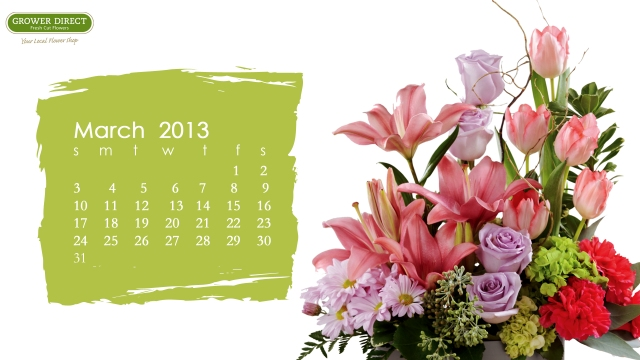 free march 2013 desktop calendar wallpaper