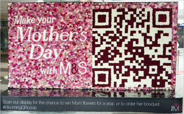QR code made of fresh flowers for Mark's & Spencers
