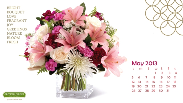 Free May 2013 desktop calendar wallpaper