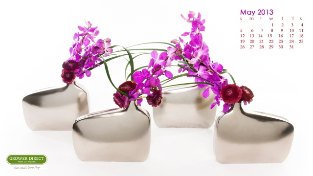 May 2013 desktop wallpaper with orchids