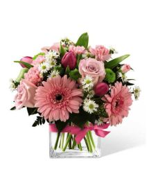 Pink Delights Bouquet featuring roses and gerbera daisies