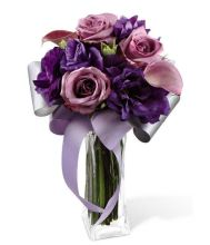 Passion for Purple Bouquet from GrowerDirect.com with lavender roses, calla lilies and lisianthus