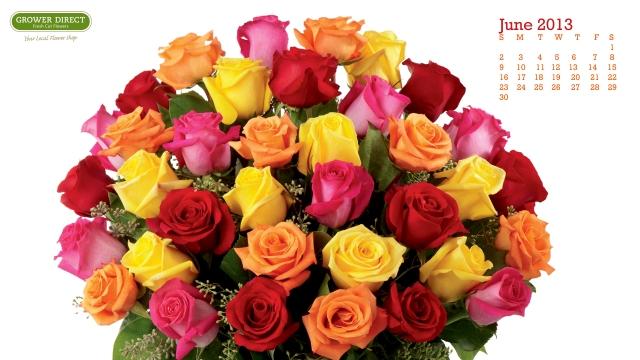free June 2013 desktop calendar wallpaper with roses