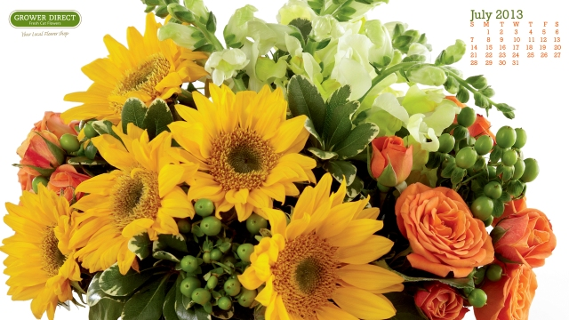 July 2013 desktop wallpaper with sunflowers