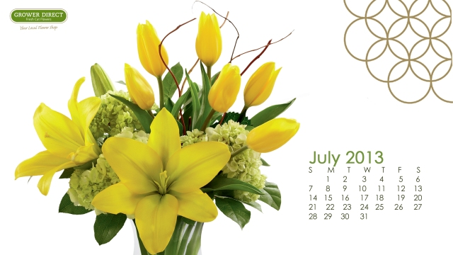 July 2013 desktop wallpaper with yellow tulips and lilies