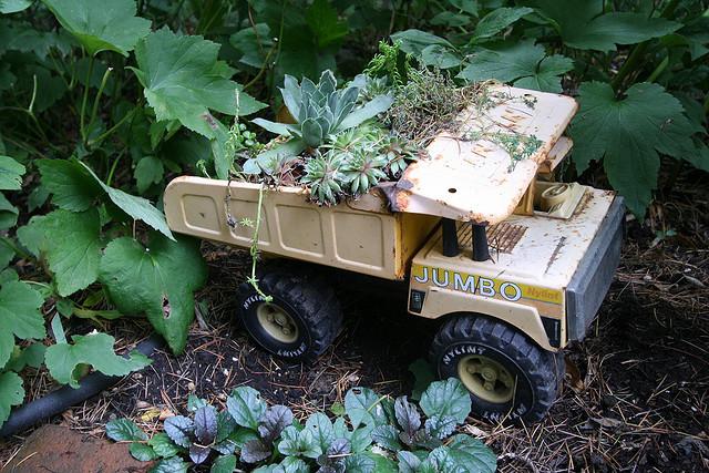 container gardening, toy truck planter