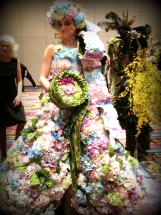 dress made of flowers at the 2013 AIFD Passion Symposium